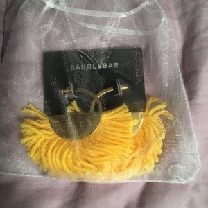 NWT BaubleBar hoops with yellow fringe.